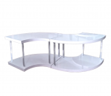 Glossy White Quarter Table (consists of 2 units)