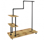 Matte Black and  Hickory Wood Step Rack for Pipe Rack System